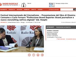 """Intervista a Radio Radicale su """"Professione Brand Reporter"""""""